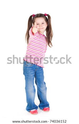 Funny little girl with the thumb up - stock photo