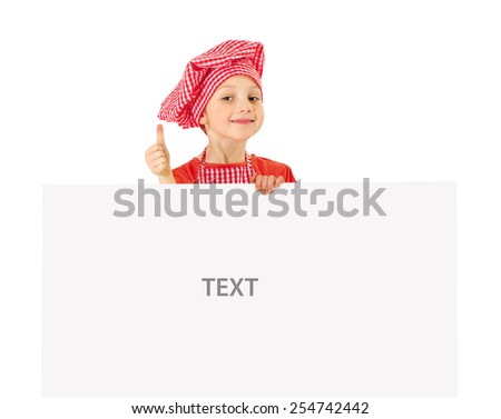 Funny little girl with white blank slate - stock photo