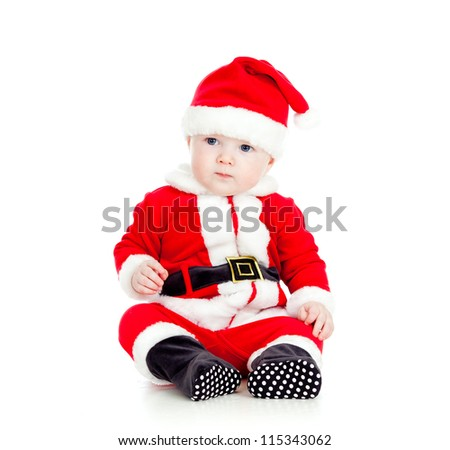 funny little kid in Santa claus clothes - stock photo