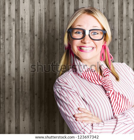Funny Looking Happy Nerd Standing Against Copy Space Office Wall In A Display Of Positive Business