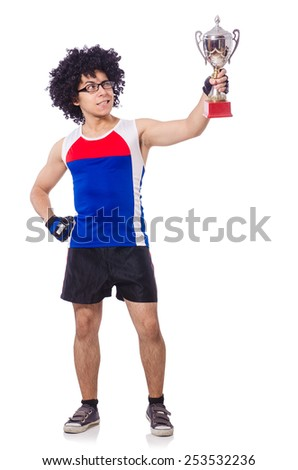 Funny man after winning gold cup isolated on white - stock photo