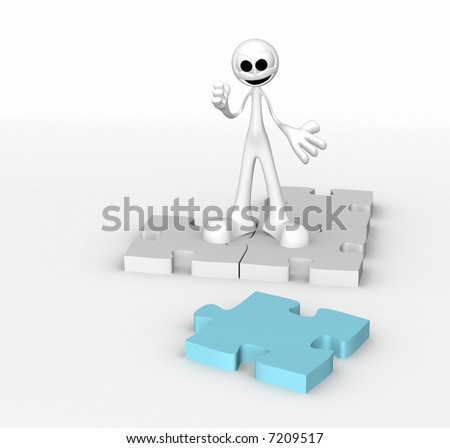 Funny man building a 3d puzzle over white background - stock photo