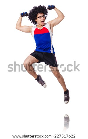 Funny man exercising isolated on white - stock photo