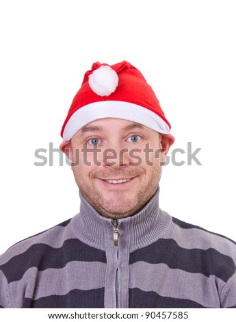 funny man on christmas with a red hat/funny christmas/man