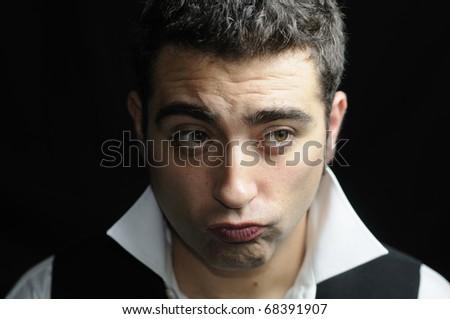 Funny man thinking - stock photo