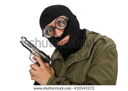 Funny man wearing balaclava isolated on white - stock photo