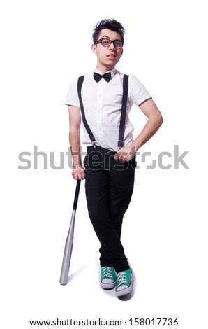Funny man with baseball bat - stock photo