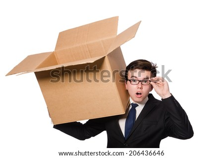 Funny man with boxes isolated on white