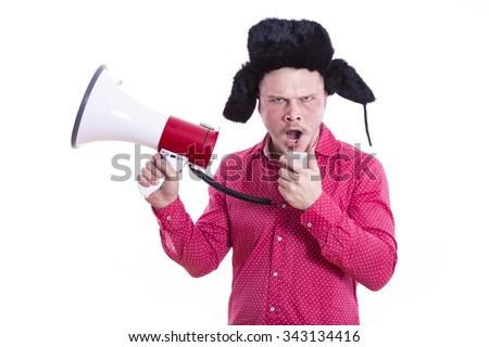 funny man with megaphone - stock photo
