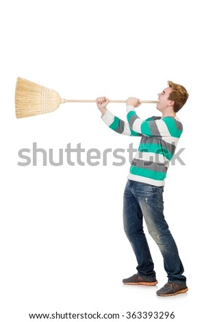 Funny man with mop isolated on white - stock photo
