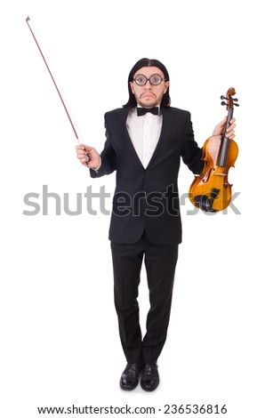 Funny man with music instrument on white - stock photo