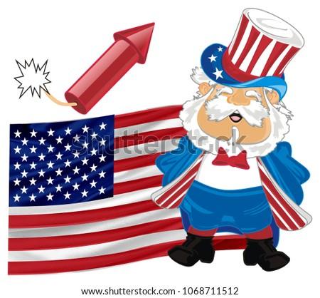 Funny Man Two Symbols America Stock Illustration 1068711512