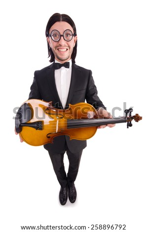 Funny man with violin isolated on white - stock photo