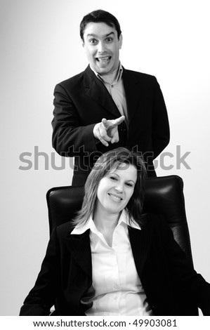 funny manager and business woman - stock photo