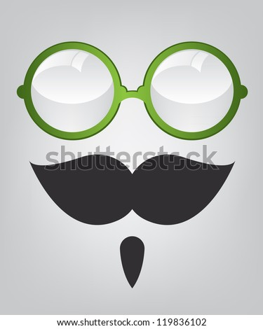 Funny mask green sunglasses and mustache - stock photo