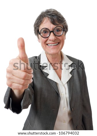 funny mature businesswoman with thumb up on white background - stock photo