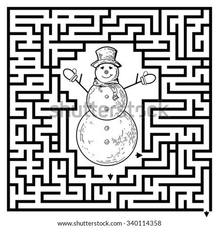 Funny Maze Game For Kids Visualor Preschool Children Puzzle With Snowman