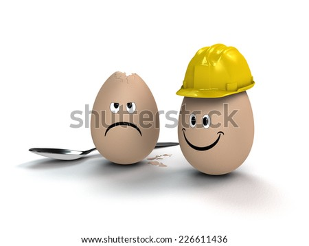 funny metaphorical easter image with an egg wearing a helmet - stock photo