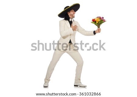 Funny mexican in suit holding flowers isolated on white - stock photo