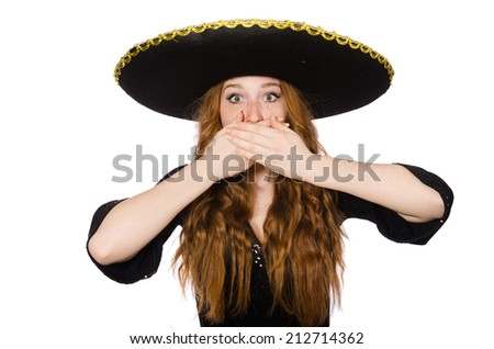 Funny mexican with sombrero in concept - stock photo