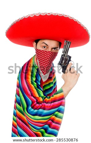 Funny mexican with weapon isolated on white - stock photo