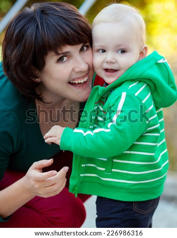 Funny mom and baby boy