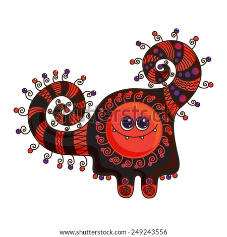 Funny monster doodle on a white background - stock photo