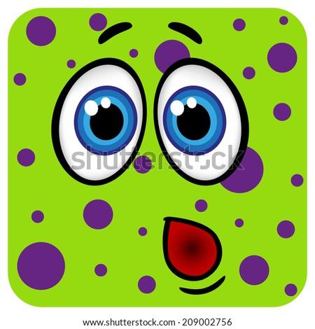 Funny monster face. Raster version  - stock photo