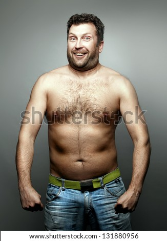Funny naked man - stock photo