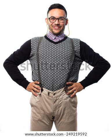 Funny nerd with suspenders isolated on white background - stock photo
