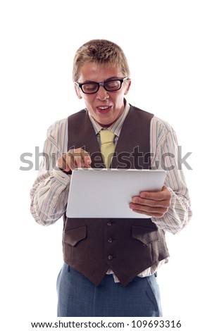 Funny nerd with tablet - stock photo