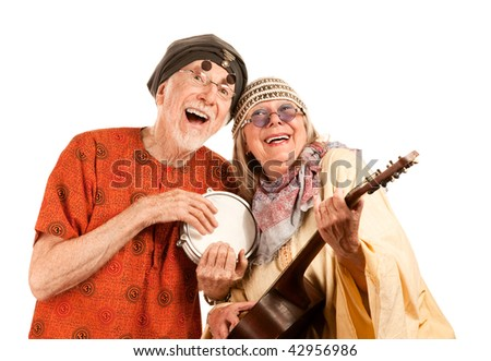 Funny New Age Senior Couple of Musicians - stock photo