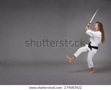 funny ninja attack, profile viewing - stock photo