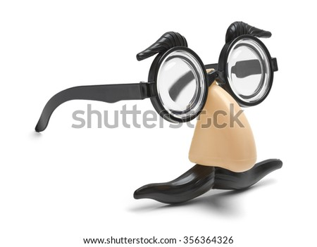Funny Nose, Glasses and Mustache Disguise Isolated on a White Background. - stock photo