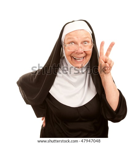 Funny nun on white background making peace sign - stock photo