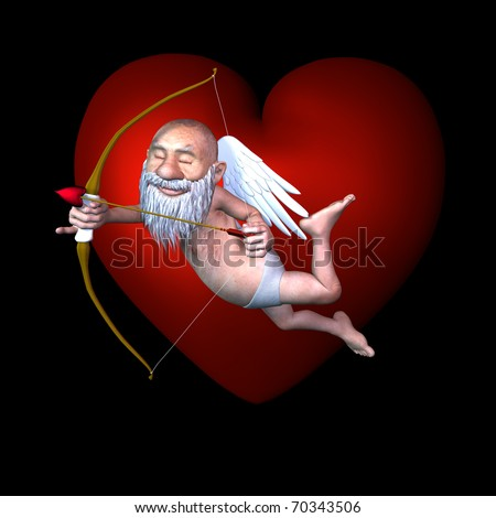 Funny old cupid hovering in front of a large heart. Isolated on a black background.