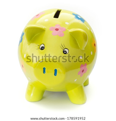 funny painted ceramic piggy bank on a white background. - stock photo