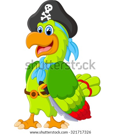 funny parrot with pirate costum - stock photo