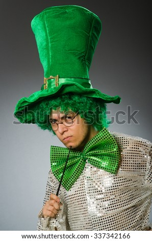 Funny person in saint patrick holiday concept