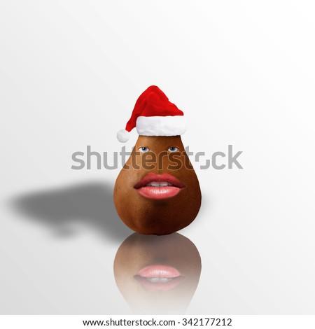 Funny photo manipulation of a christmas character/Santa character - stock photo