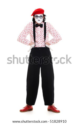 funny picture of complacent mime. isolated on white background - stock photo