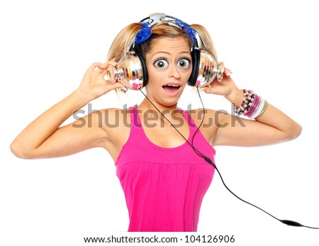Funny picture of the girl with a headphones.