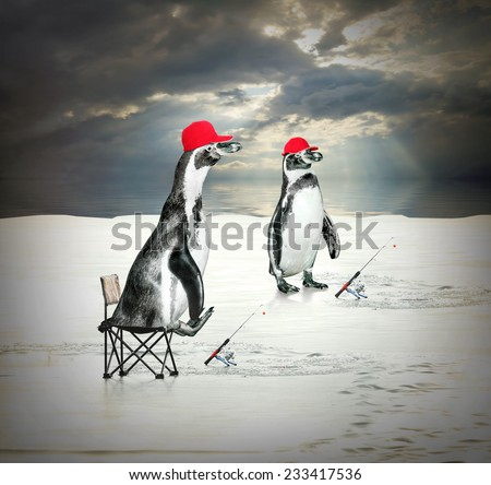 Funny picture of two penguins as a ice fishermen floating on iceberg.  - stock photo