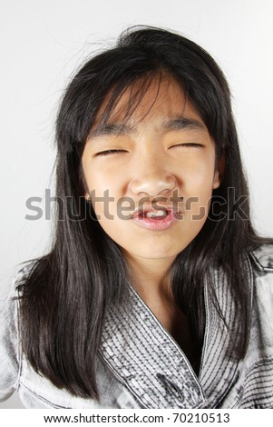 Funny pig face, Girl with funny pig face fooling around. - stock photo