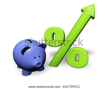 Funny piggy-bank or money-box with green growing percent symbol. - stock photo