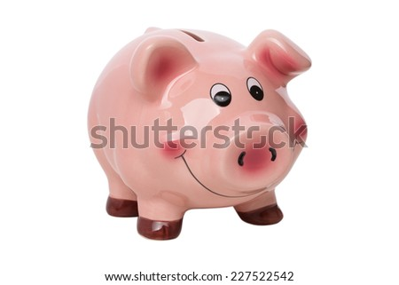 Funny pink piggy bank isolated over white background