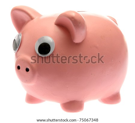funny pink piggy bank with googely eyes. isolated on white with room for your text - stock photo