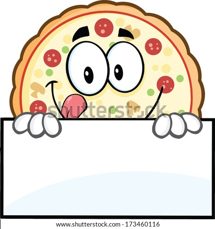 Funny Pizza Cartoon Mascot Character Over A Sign. Raster Illustration Isolated on white - stock photo