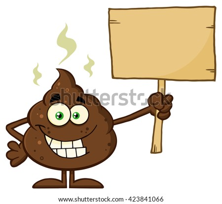 poop cartoon character holding sign stock vector 198597599