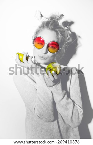 Funny portrait blond hipster woman sunglasses - stock photo